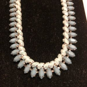 Blue velvet beaded statement necklace with silver